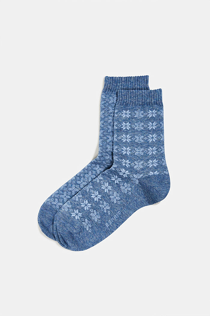 2er-Pack Socken mit Muster, SMOKY BLUE, detail image number 0