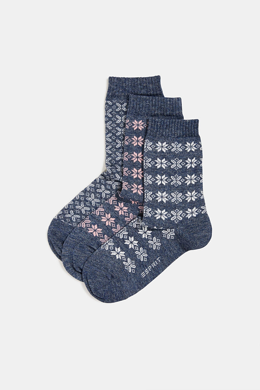 Triple pack: knit-pattern socks