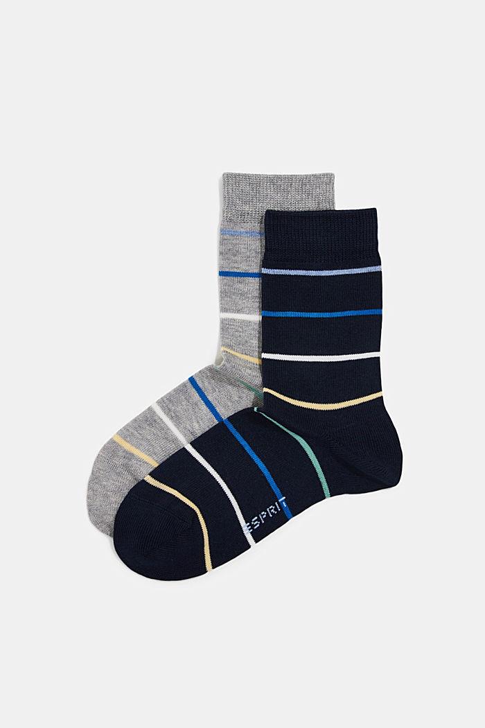 Set van twee paar sokken van een katoenmix, LIGHT GREY/NAVY, detail image number 0