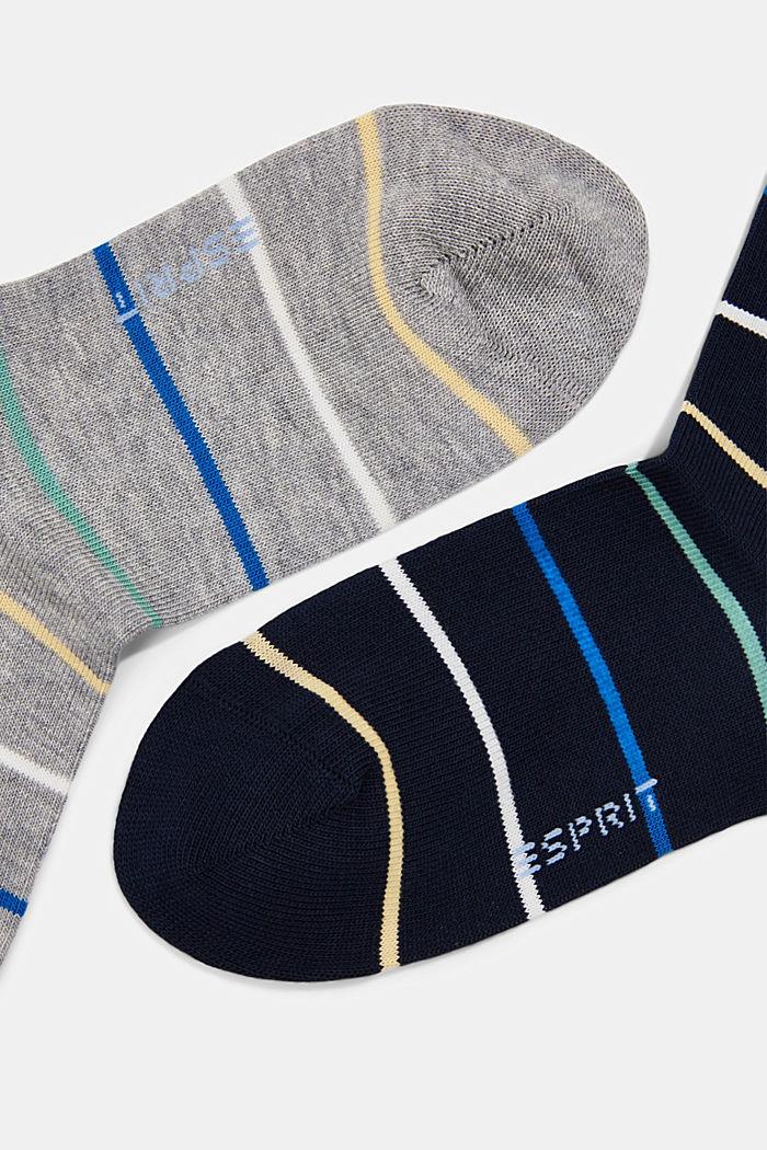 Set van twee paar sokken van een katoenmix, LIGHT GREY/NAVY, detail image number 1
