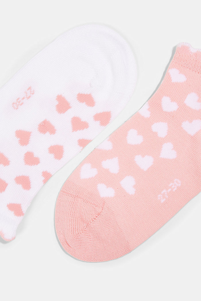 2er-Pack: Sneaker-Socken mit Herzen, ROSE/WHITE, detail image number 1