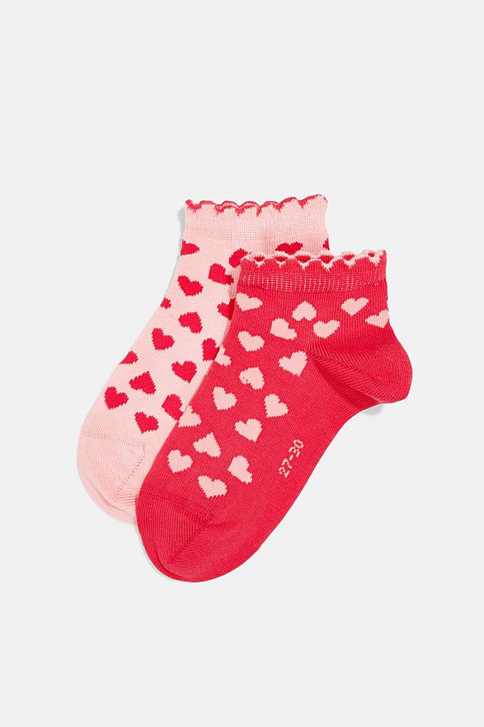 2er-Pack: Sneaker-Socken mit Herzen, PINK/ROSE, detail image number 0