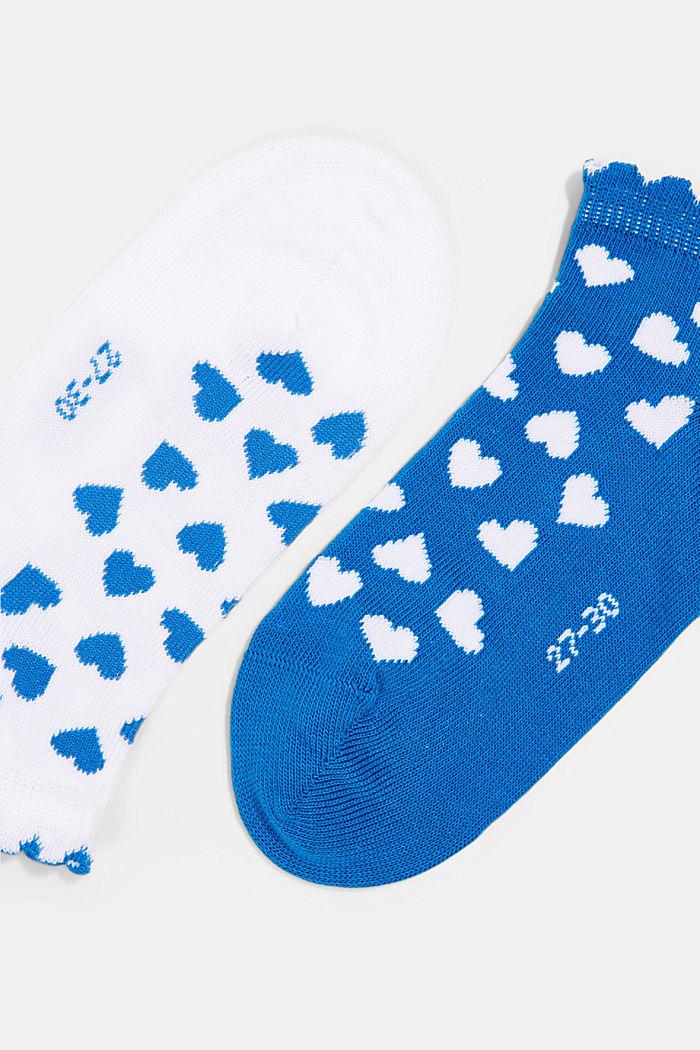 2er-Pack: Sneaker-Socken mit Herzen, BLUE/WHITE, detail image number 1
