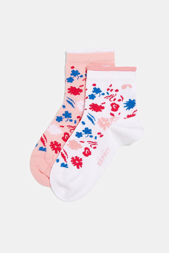 2er-Pack: Kurze Socken Blütenmuster, WHITE/ROSE, detail image number 0