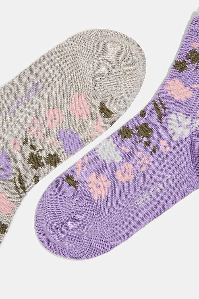 Confezione doppia: calze corte con motivo floreale