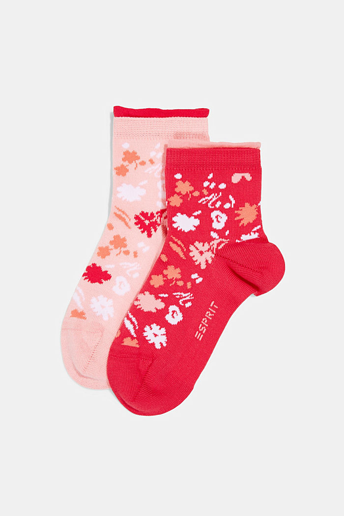 2er-Pack: Kurze Socken Blütenmuster, PINK/ROSE, detail image number 0