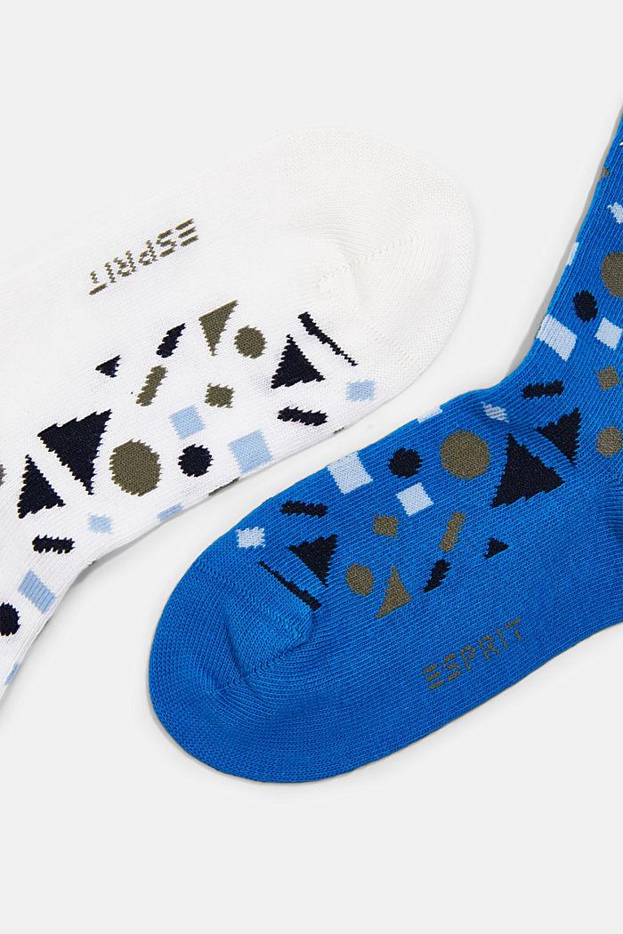 Set van 2 paar: sokken met geometrisch motief, BLUE, detail image number 1