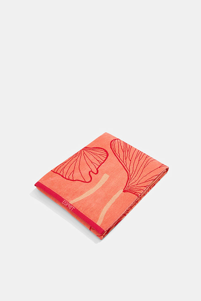 Beach towel with a ginkgo pattern, 100% cotton, CORAL, detail image number 0