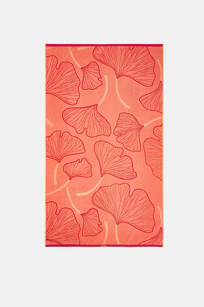 Beach towel with a ginkgo pattern, 100% cotton, CORAL, detail image number 4