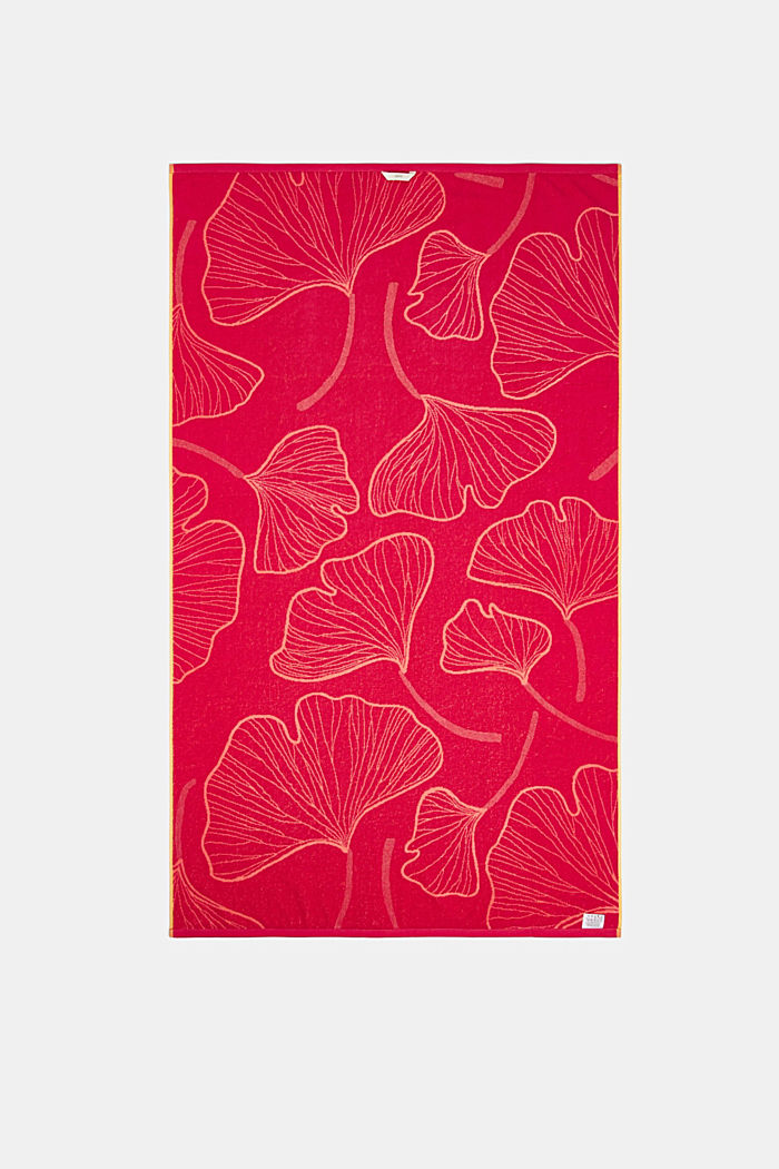 Beach towel with a ginkgo pattern, 100% cotton, CORAL, detail image number 2