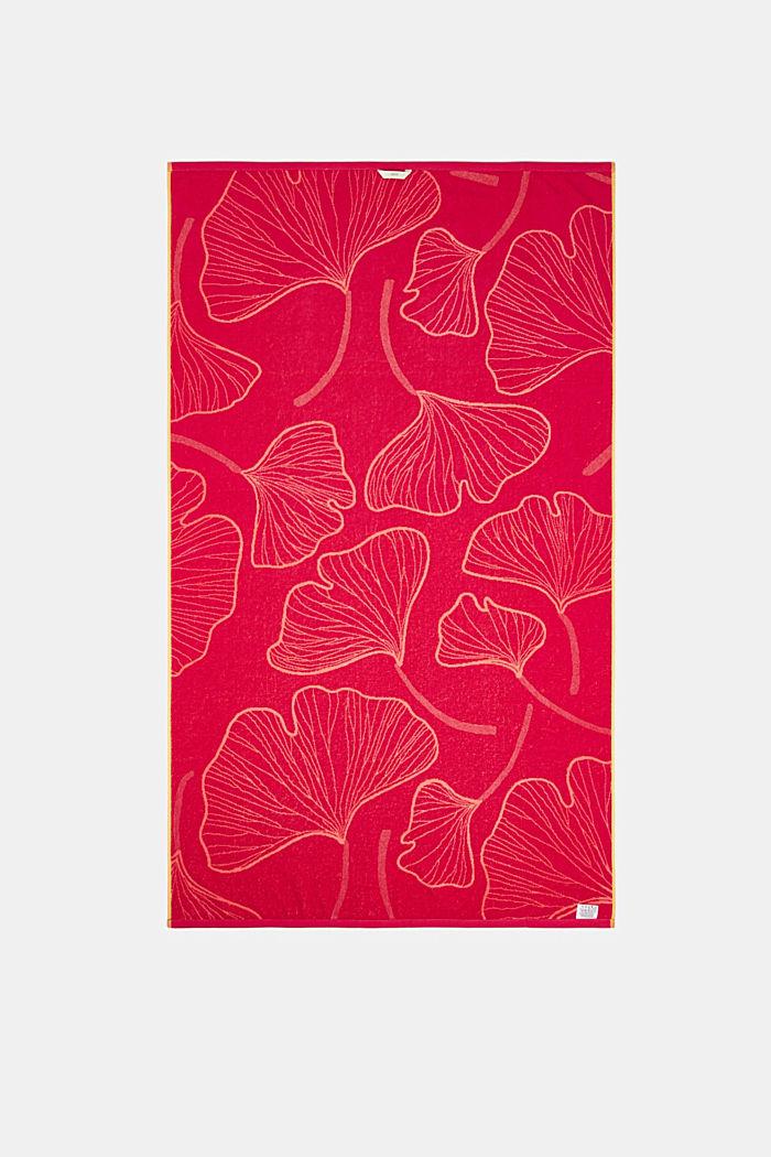 Plážový ručník ze vzorem listů ginkga, 100% bavlna, CORAL, detail image number 2