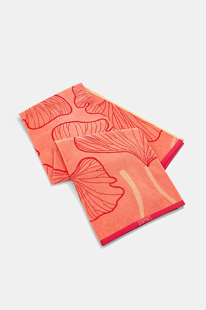 Beach towel with a ginkgo pattern, 100% cotton, CORAL, detail image number 3