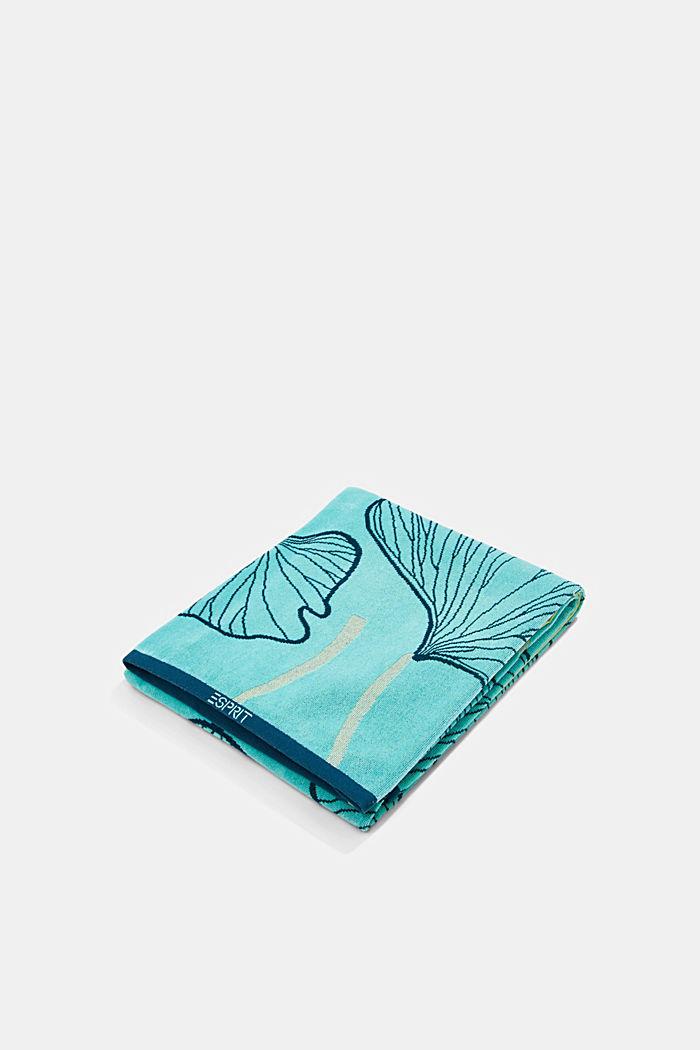 Plážový ručník ze vzorem listů ginkga, 100% bavlna, TURQUOISE, detail image number 0