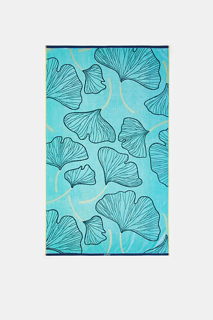 Beach towel with a ginkgo pattern, 100% cotton