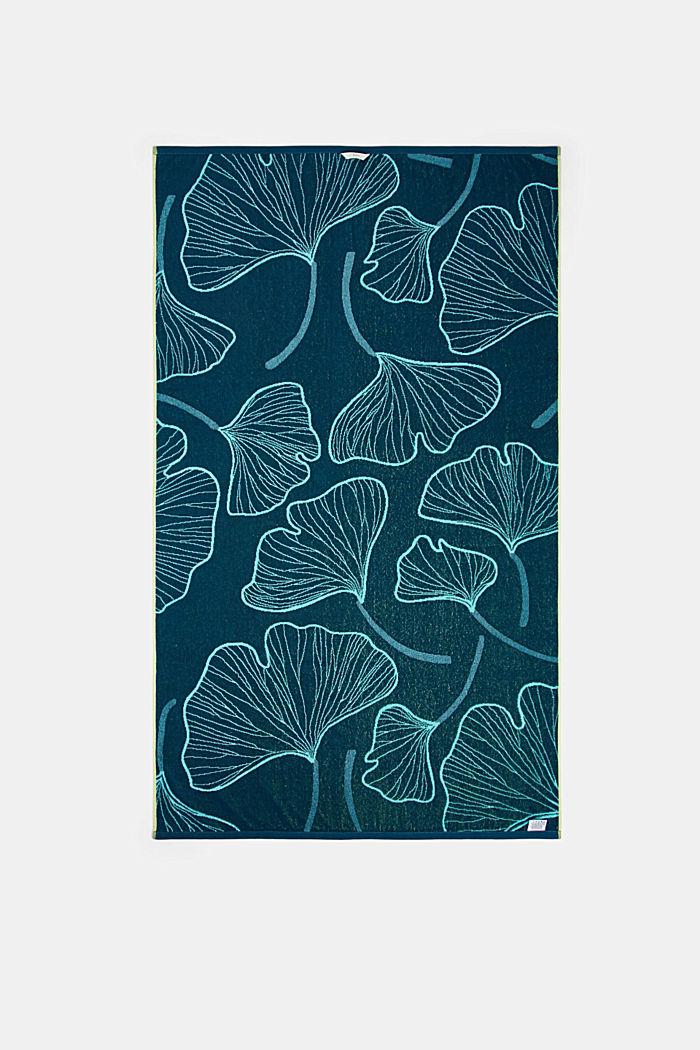 Plážový ručník ze vzorem listů ginkga, 100% bavlna, TURQUOISE, detail image number 2