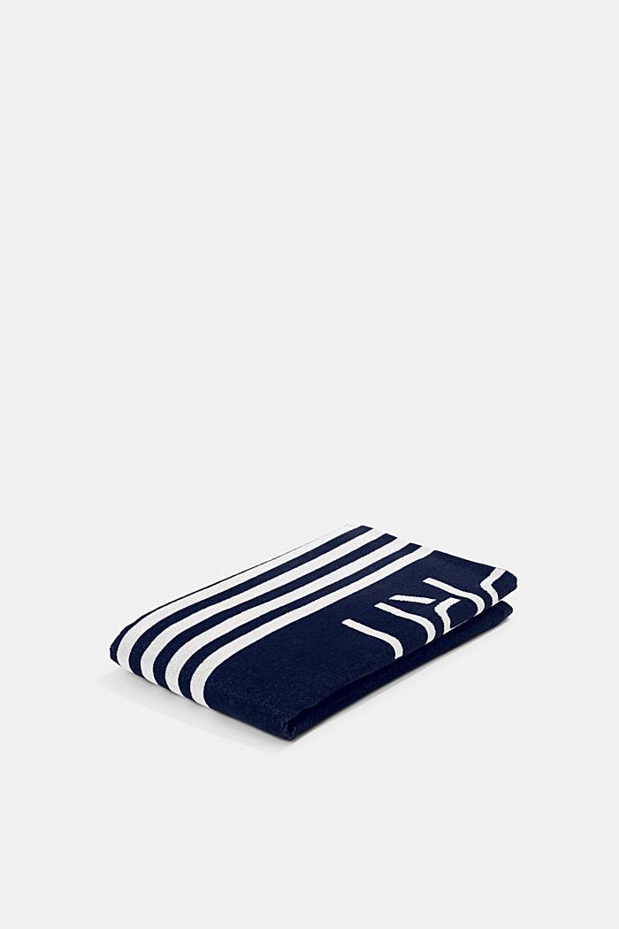 Plážový ručník s pruhy, 100% bavlna, NAVY BLUE, detail image number 0