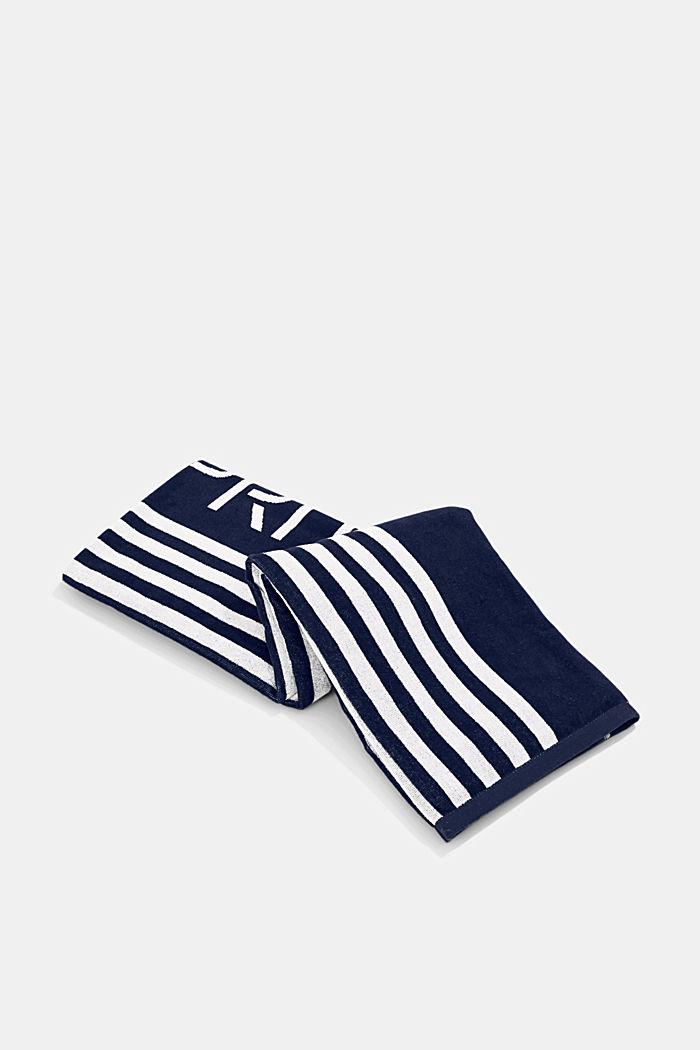 Plážový ručník s pruhy, 100% bavlna, NAVY BLUE, detail image number 3