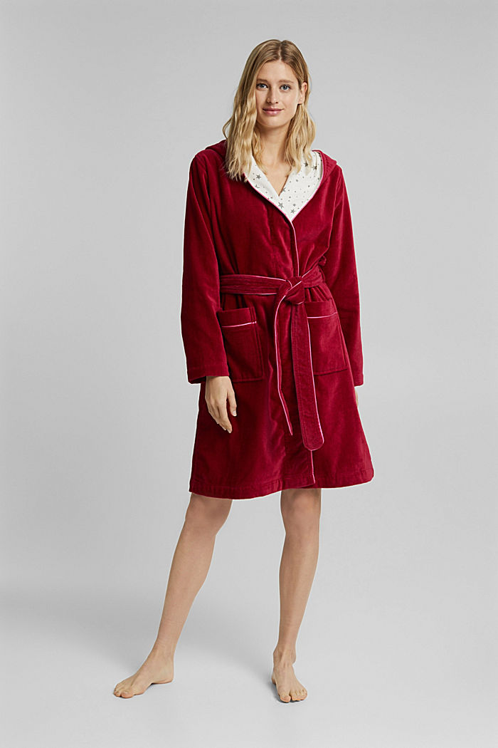 Suede bathrobe made of 100% cotton, RUBIN, detail image number 0