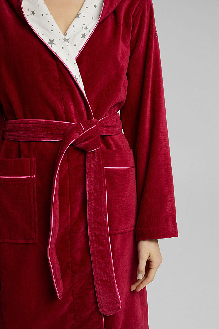 Suede bathrobe made of 100% cotton, RUBIN, detail image number 3