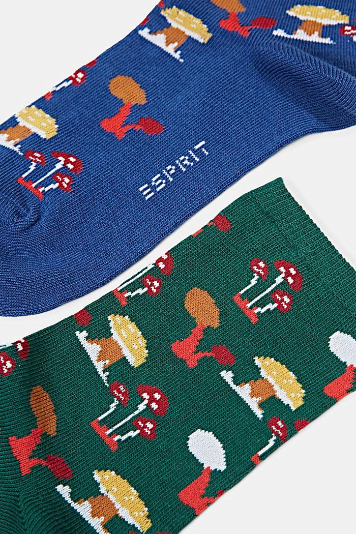 Set van twee paar sokken van een mix met biologisch katoen, NAVY/GREEN, detail image number 1