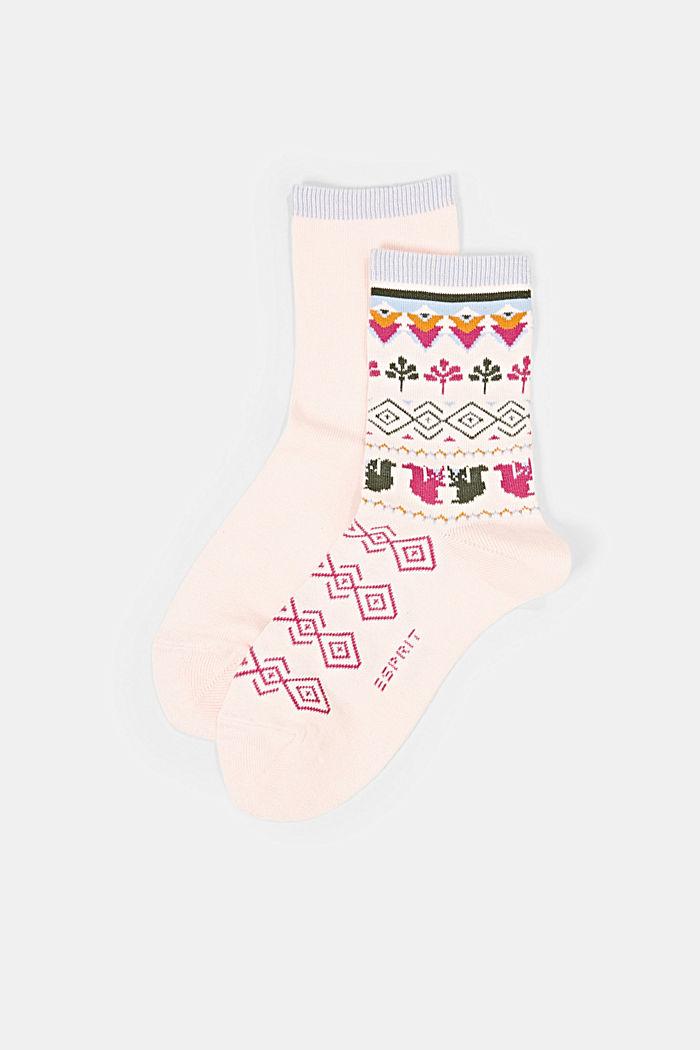 Set van twee paar sokken van een mix met biologisch katoen, ORCHID, detail image number 0