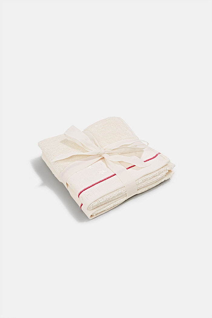 Two terry cloth guest towels with star border, IVORY, detail image number 0