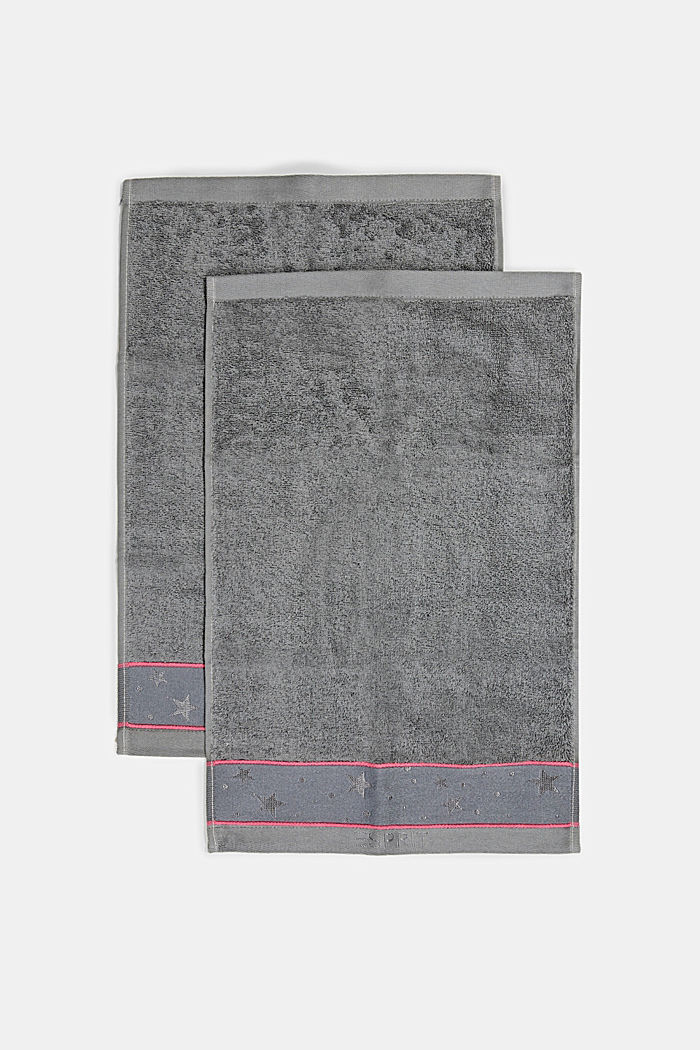 Two terry cloth guest towels with star border, ANTHRACITE, detail image number 3