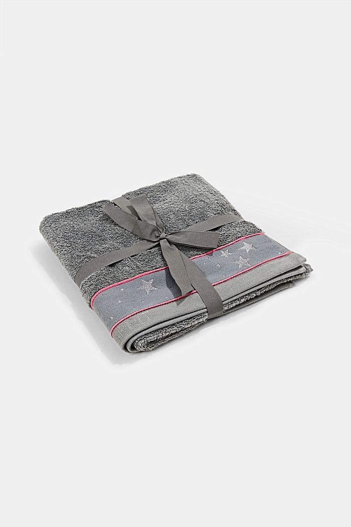 Handtuch mit Sternen-Bordüre, 100% Baumwolle, ANTHRACITE, detail image number 0