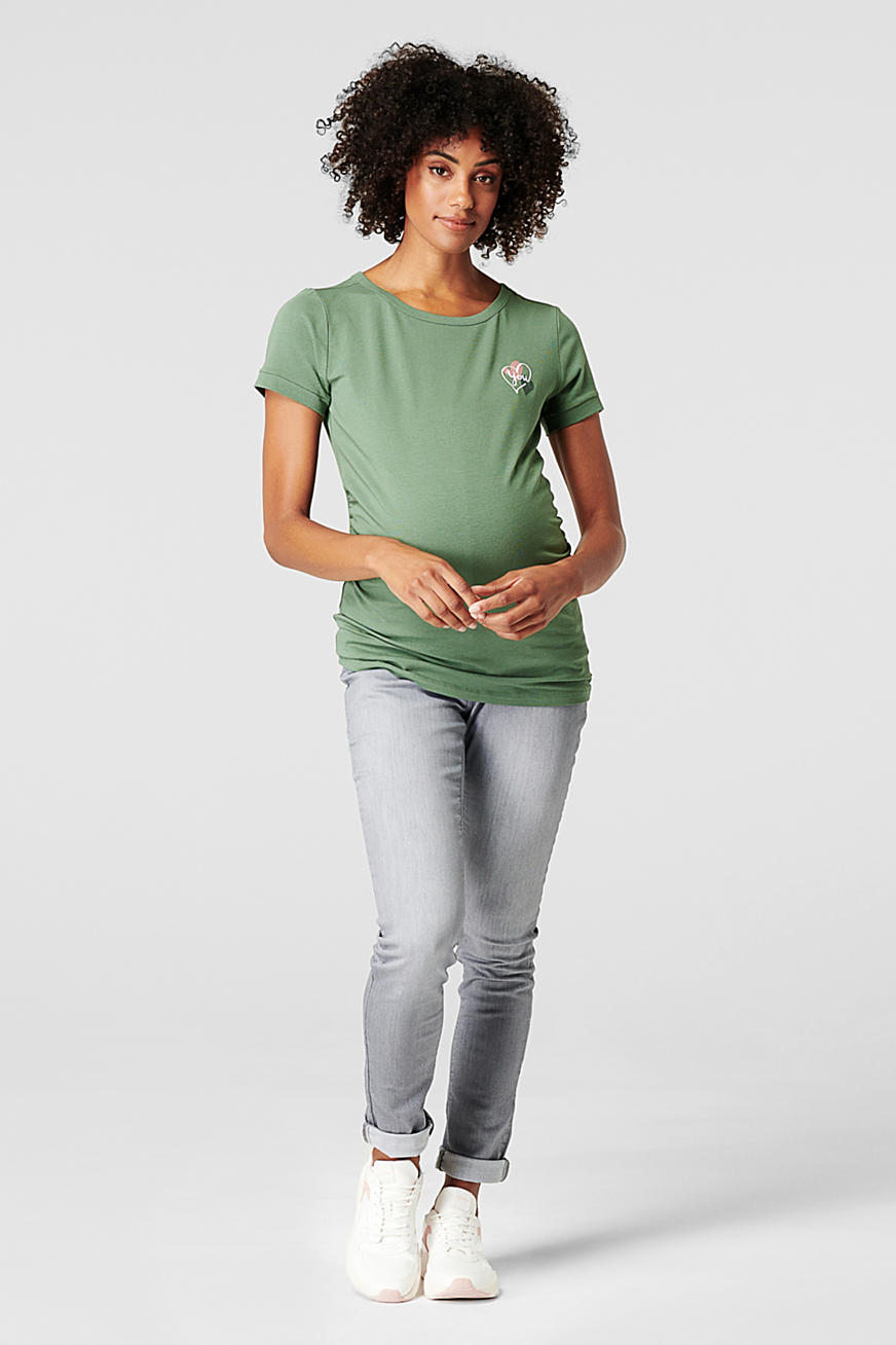 Printed and embroidered T-shirt, organic cotton