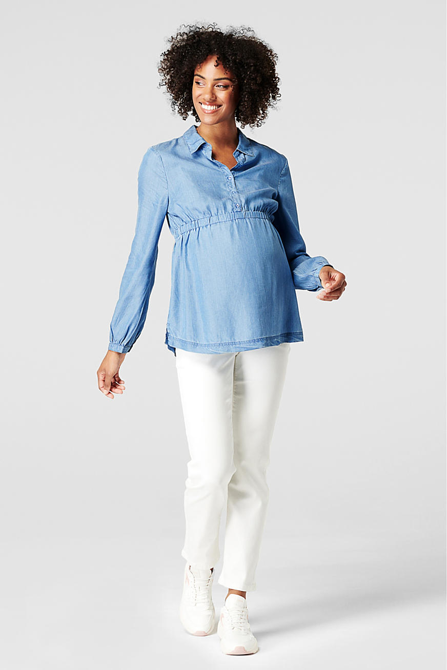 Made of TENCEL™: chambray blouse with an elasticated waistband