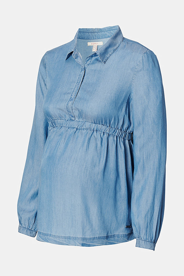 Aus TENCEL™: Chambray-Bluse mit Gummibund, MEDIUM WASHED, detail image number 5