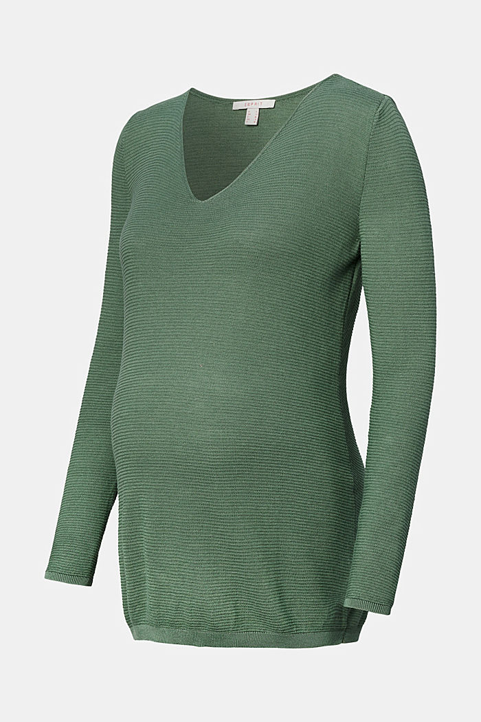 Feinstrick-Pullover mit Struktur, VINYARD GREEN, detail image number 0