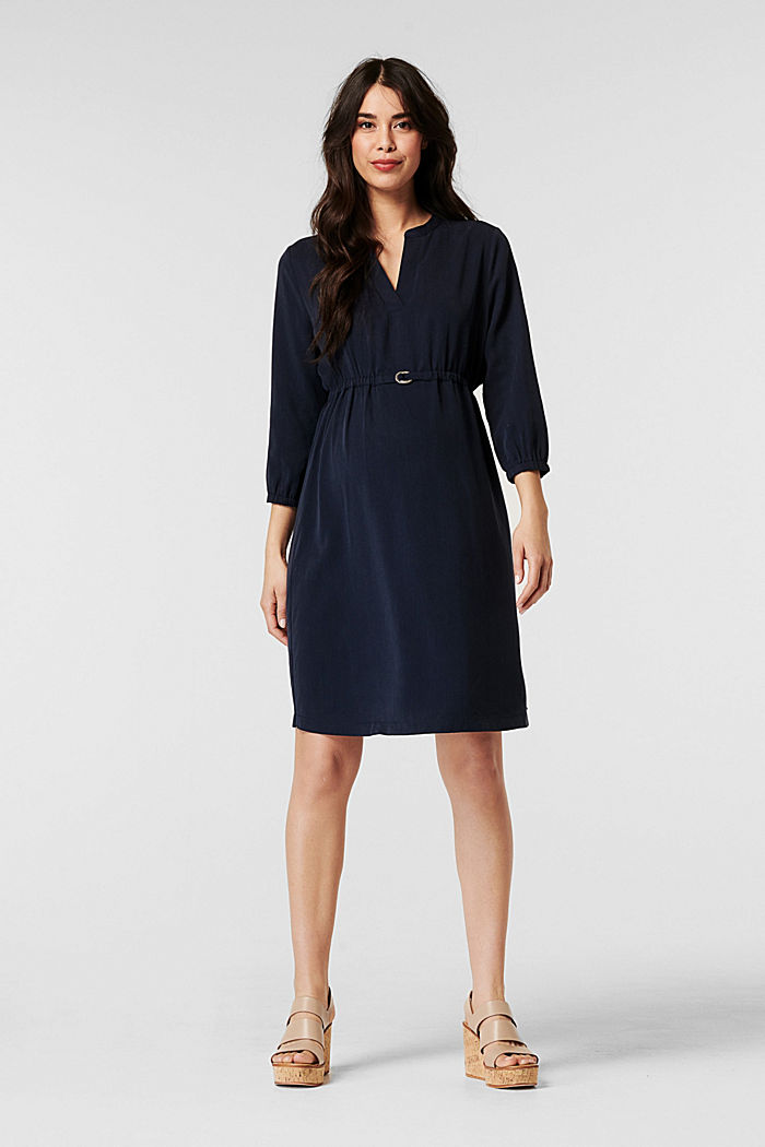Nursing dress with an elasticated waistband, 100% lyocell