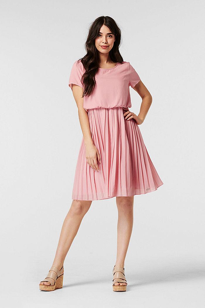 Geplisseerde jurk met voedingsfunctie, ROSE BRICK, detail image number 1