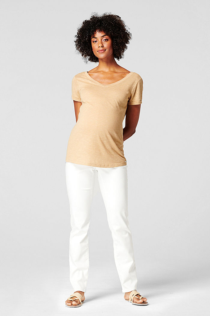 Linen blend: double V-neck T-shirt, SAND, detail image number 0