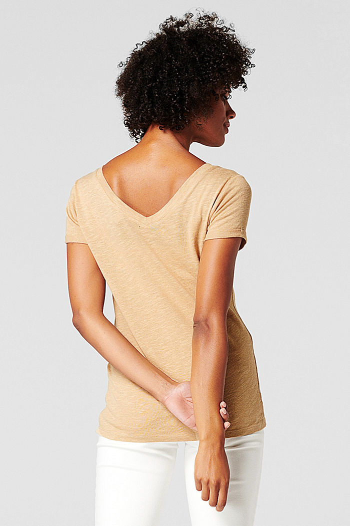 Linen blend: double V-neck T-shirt, SAND, detail image number 1