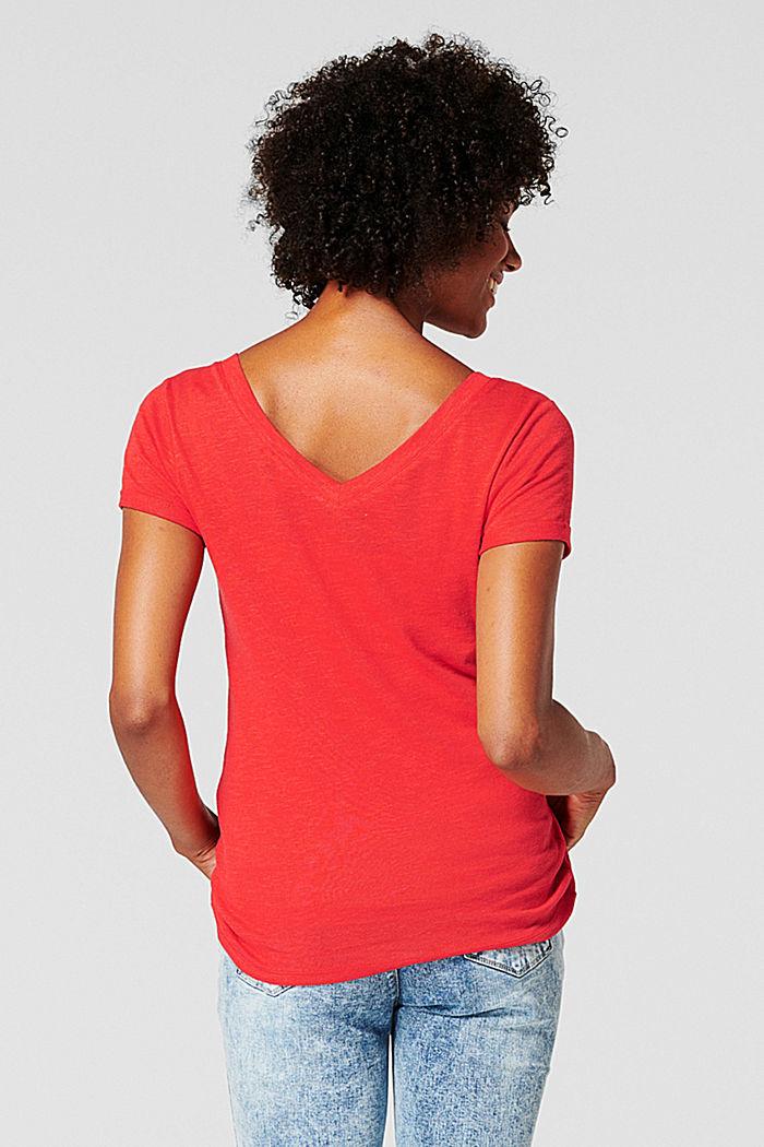 Mit Leinen: T-Shirt beidseitigem V-Neck, RED, detail image number 1