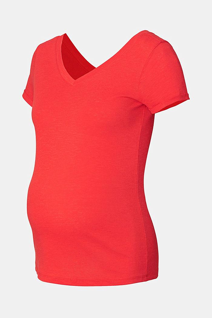 Mit Leinen: T-Shirt beidseitigem V-Neck