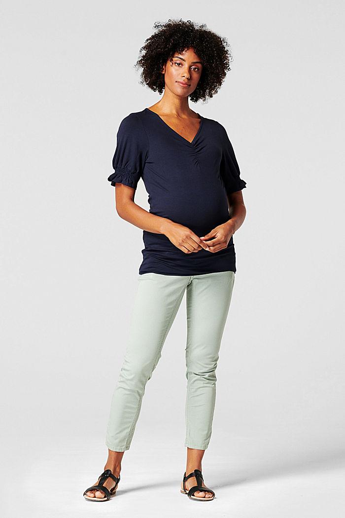 T-Shirt mit Smok-Details, LENZING™ ECOVERO™, NIGHT SKY BLUE, detail image number 0