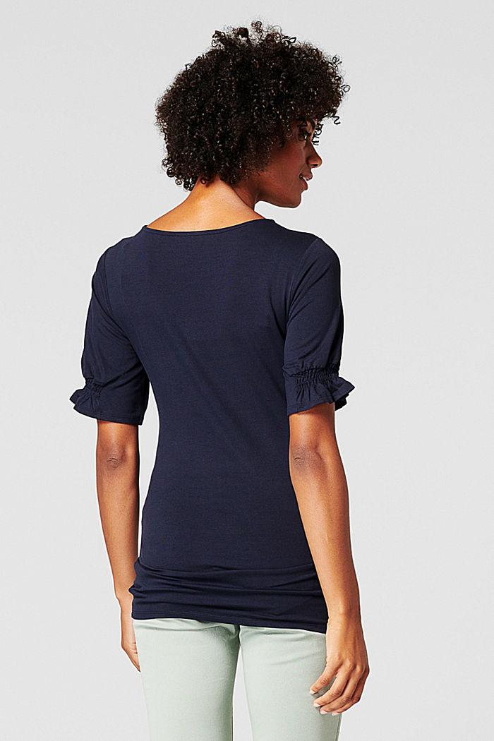 T-shirt à détails smockés, en LENZING™ ECOVERO™, NIGHT SKY BLUE, detail image number 1