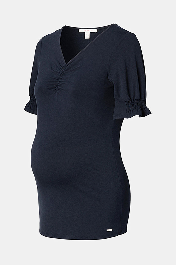 T-Shirt mit Smok-Details, LENZING™ ECOVERO™, NIGHT SKY BLUE, detail image number 4
