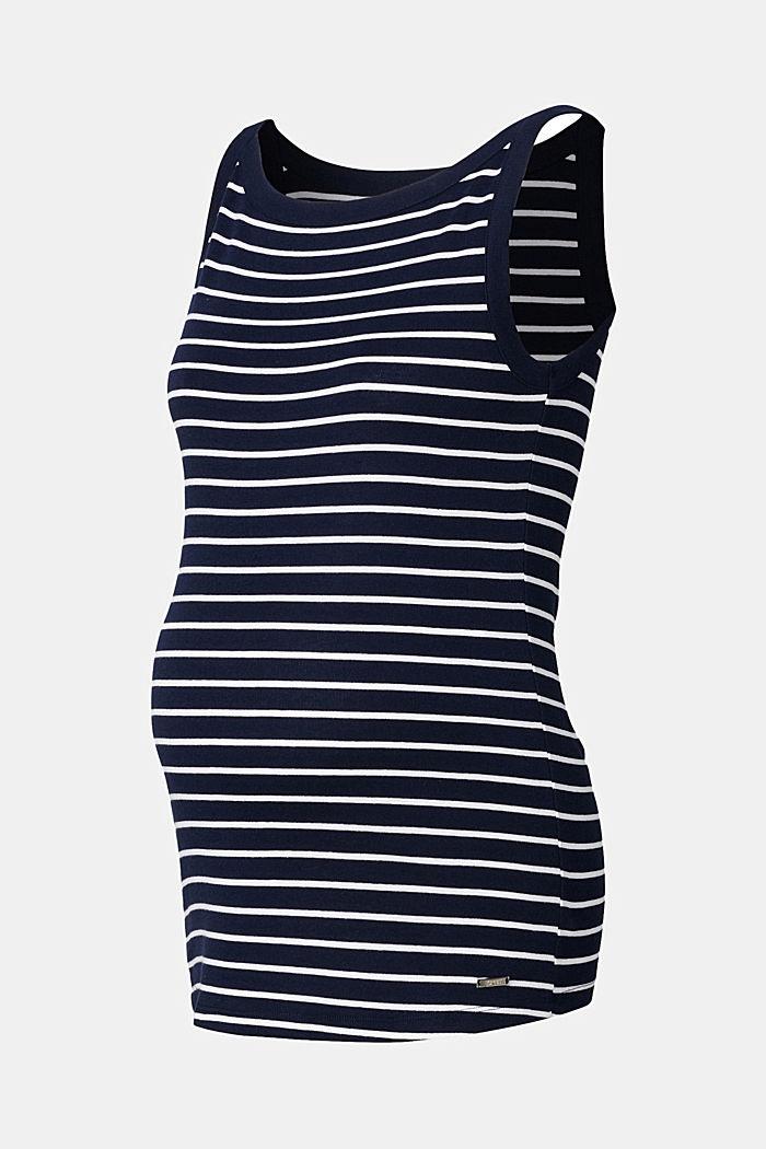 Gestreifte Jersey-Top aus 100% Bio-Baumwolle, NIGHT SKY BLUE, detail image number 4