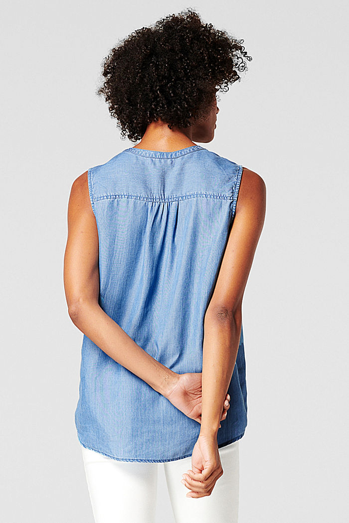 Made of TENCEL™: airy top in a denim look, BLUE MEDIUM WASHED, detail image number 1