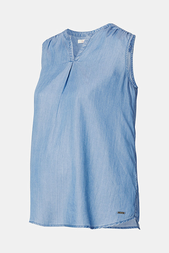 Aus TENCEL™: luftiges Top im Denim-Look, BLUE MEDIUM WASHED, detail image number 4