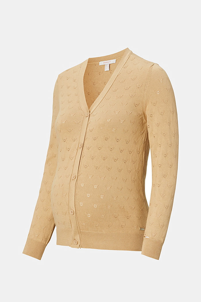 Fine knit cardigan with openwork pattern, SAND, detail image number 4