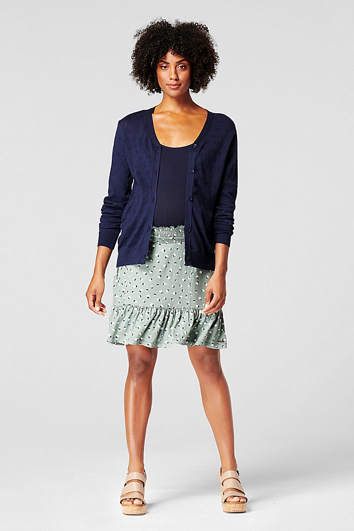Fine knit cardigan with openwork pattern, NIGHT SKY BLUE, detail image number 0