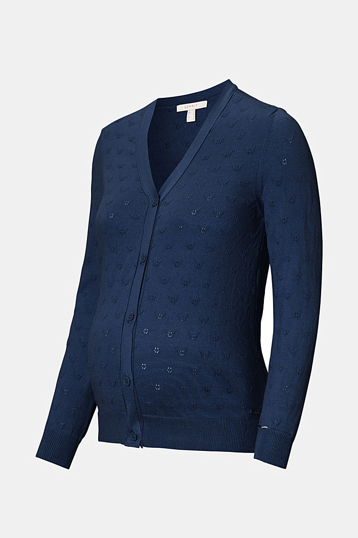 Fine knit cardigan with openwork pattern, NIGHT SKY BLUE, detail image number 4