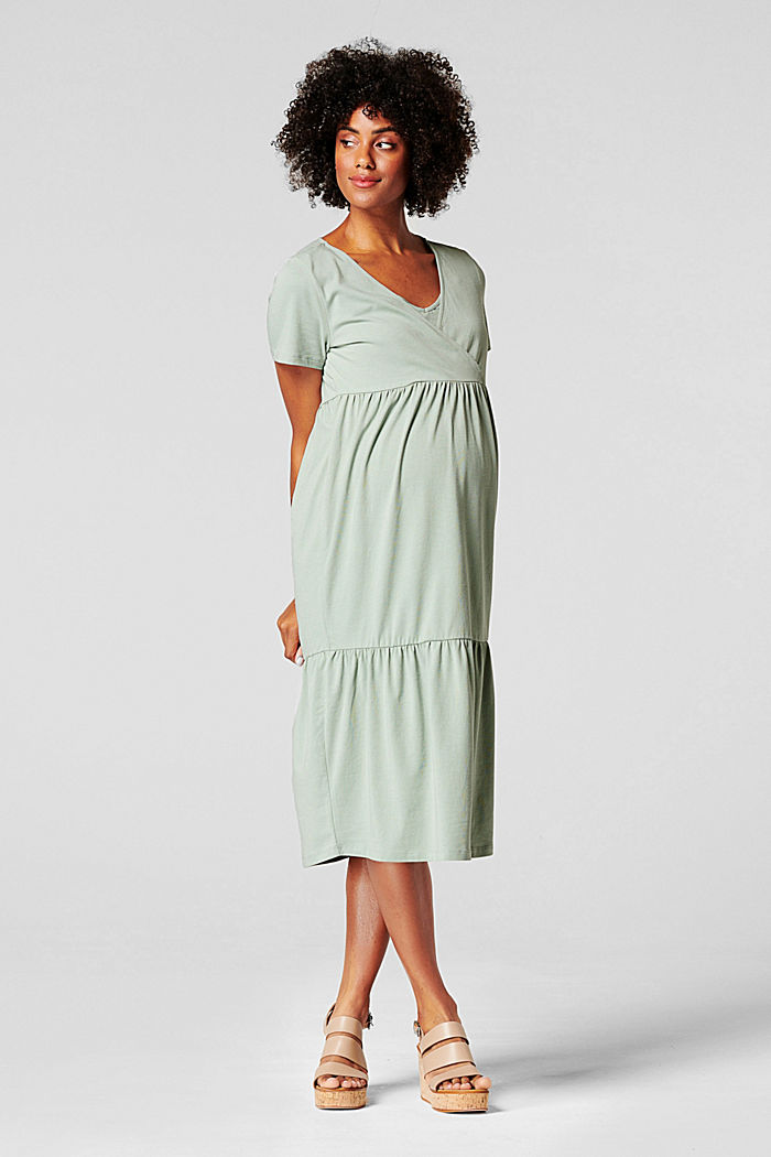 Tiered nursing dress, organic cotton, GREY MOSS, detail image number 0