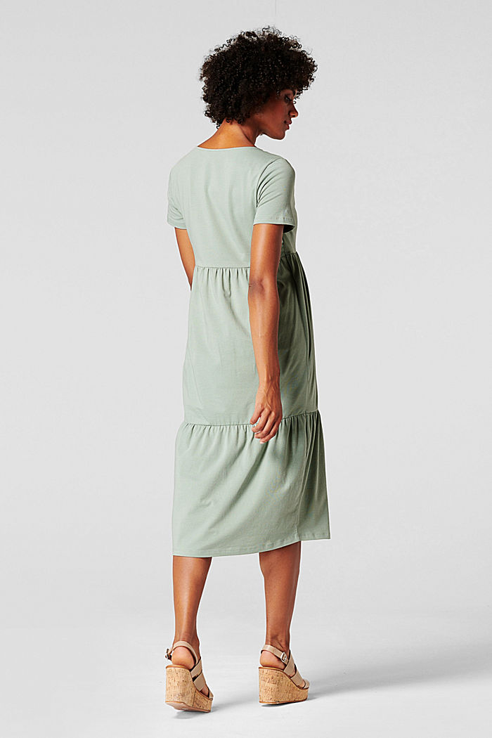 Tiered nursing dress, organic cotton, GREY MOSS, detail image number 2