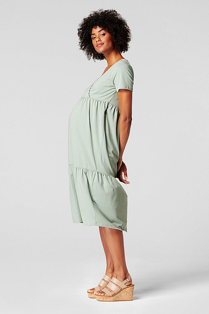 Tiered nursing dress, organic cotton, GREY MOSS, detail image number 4